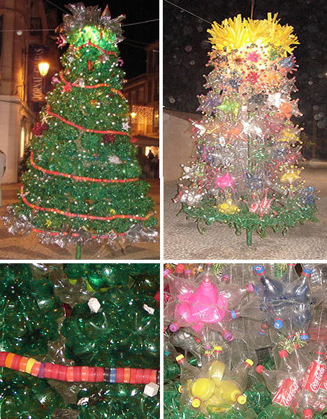 Christmas Trees Made of Recycled Bottles in Portugal